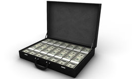 Briefcase full of bills Stock Images