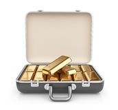 Briefcase full of gold bars. 3D Icon isolated on w Royalty Free Stock Image