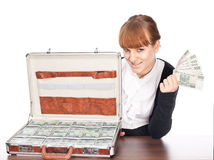 Briefcase full of money. Brown briefcase full of hundred zloty money isolated on white Royalty Free Stock Photos