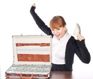 Briefcase full of money Stock Photos