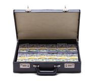 Briefcase Full of Money. Black Briefcase Full of Money Front View Isolated on a White Background Royalty Free Stock Photo