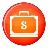 Briefcase full of money icon, flat style Stock Photos
