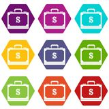 Briefcase full of money icon set color hexahedron. Briefcase full of money icon set many color hexahedron isolated on white vector illustration Royalty Free Stock Image