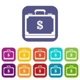 Briefcase full of money icons set Stock Photography
