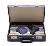 Money Gun and Passport. Briefcase full of Money with a Passport and Gun Isolated on a White Background Stock Images