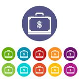 Briefcase full of money set icons Stock Photography
