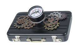 Briefcase with Gauge and Gears Stock Images