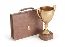 Briefcase and gold cup winner Stock Image