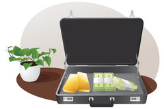 Briefcase with gold and money Royalty Free Stock Images