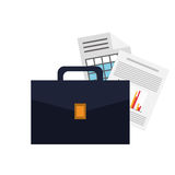 Briefcase and graph chart icon Stock Images
