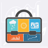 Briefcase with graph clock badge money cloud Royalty Free Stock Photography