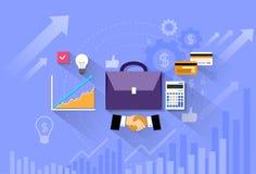Briefcase handshake financial chart flat vector Royalty Free Stock Photos