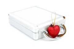 Briefcase and heart isolated Stock Images