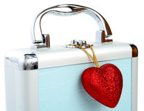 Briefcase and heart isolated Royalty Free Stock Images