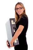 briefcase holding side smiling view woman Στοκ Εικόνες