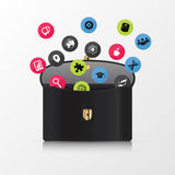 Briefcase with icons. Modern business concept. Stock Image
