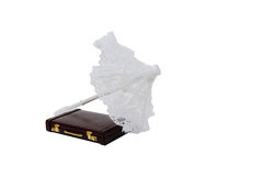 Briefcase and lace parasol. Burgandy leather Briefcase used to carry items to the office with parasol of dainty pure white lace Royalty Free Stock Image