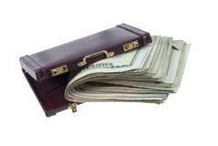 Briefcase With a Large Wad of Money Stock Photo