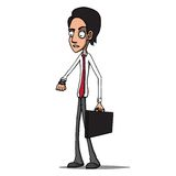 With briefcase late for a meeting checking the tim. Vector illustration of a Businessman Royalty Free Stock Images
