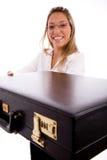 briefcase lawyer showing side smiling view Στοκ εικόνες με δικαίωμα ελεύθερης χρήσης