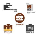 Briefcase logos collection of illustrations on white background. Briefcase logos collection of isolated vector illustrations on white background. Signs of Royalty Free Stock Images