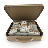 Briefcase with lots of cash, dollar Stock Photo