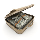 Briefcase with lots of cash, dollar Royalty Free Stock Photo