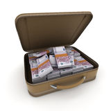 Briefcase with lots of cash, Euros Stock Images