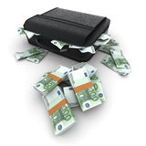 Briefcase with lots of cash, hundred euro bills Royalty Free Stock Images
