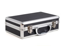 Briefcase lying on white in diagonal Royalty Free Stock Images