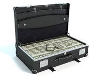 Briefcase of Money. 3d illustration of a briefcase full of money Stock Photo
