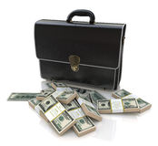 Briefcase and money Stock Photos
