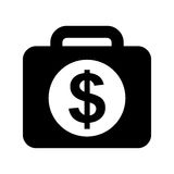 Briefcase with money isolated icon Stock Photos