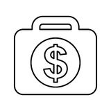 Briefcase with money isolated icon Royalty Free Stock Image
