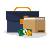 Briefcase and money items Royalty Free Stock Image