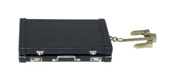 Briefcase with Nautical Anchor. Used to anchor down to keep from drifting - path included Stock Images