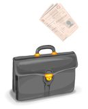 Briefcase and newspaper Stock Photography