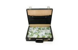 Briefcase with one hundred euros bills Royalty Free Stock Photos