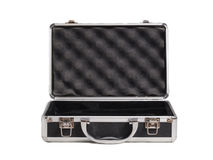 Briefcase opened lying on white. Royalty Free Stock Photos