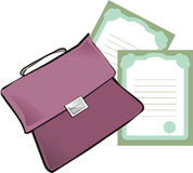 Briefcase and papers Stock Photo