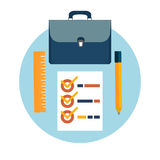 Briefcase, pencil and ruler icons Royalty Free Stock Image