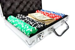 A briefcase with poker chips and money Royalty Free Stock Image