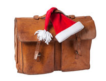 Briefcase and Santa Hat Royalty Free Stock Photography