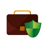 Briefcase and shield icon Stock Photography