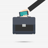 Briefcase. And smartphone in a businessman's hand for your design Royalty Free Stock Photos
