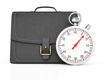 Briefcase and stopwatch. On white background. 3d rendering illustration Royalty Free Stock Images