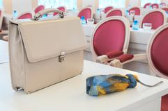 Briefcase on the table. Royalty Free Stock Photography