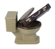 Briefcase in Toilet Royalty Free Stock Images
