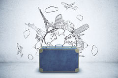 Briefcase with travel sketch Stock Photo