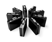 Briefcases. Group of black business briefcases isolated on white Royalty Free Stock Photos